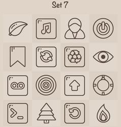 Outline icons set 7 vector