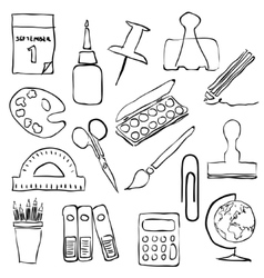 Stationery sketch images vector