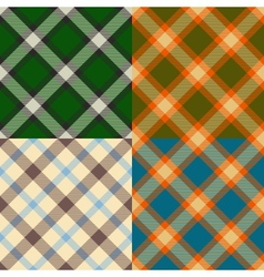 Color plaid patterns set vector