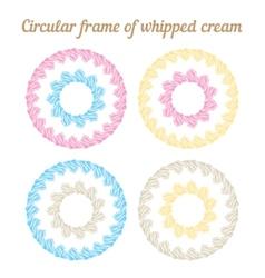Whipped cream and circular frame set vector