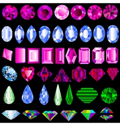 A set of precious stones of different cut vector