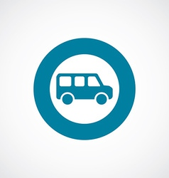 School bus icon bold blue circle border vector