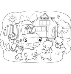 Cartoon pupils on schoolbus vector
