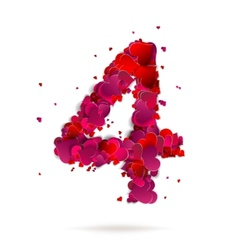 Number four 4 made from red hearts love alphabet vector