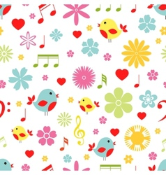 Flowers birds and music notes seamless pattern vector