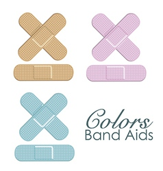 Pastels color band aids isolated ove white backgro vector