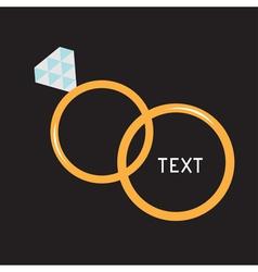Wedding gold rings diamond card vector
