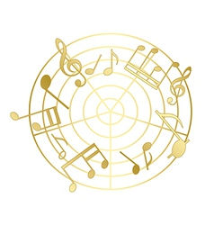 Golden music notes with gradient vector
