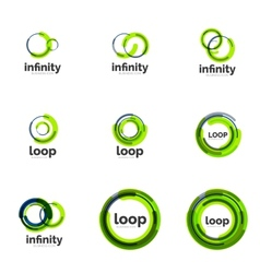 Loop infinity business icon set vector