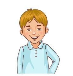 Teenager cartoon boy with blond hair vector