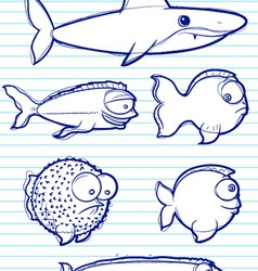 Fish drawn vector