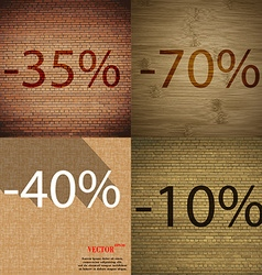 90 40 10 icon set of percent discount on abstract vector