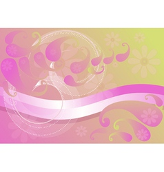 Pink background with paisley vector