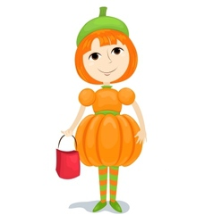 Girl pumpkin vector