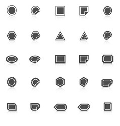 Label icons with reflect on white background vector