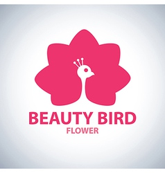 Beauty bird flower symbol icon vector