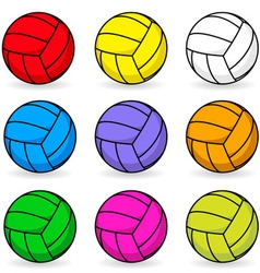 Cartoon volleyball in different colors vector