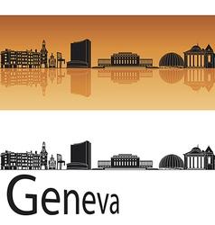 Geneva skyline in orange background vector