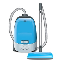 Blue vacuum cleaner vector