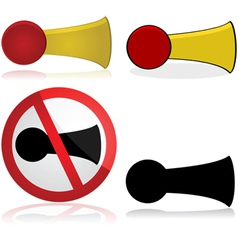 Horn and no honking sign vector