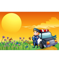 A sunset view with a policeman and a car at the vector