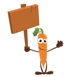 Funny carrot holding a sign vector