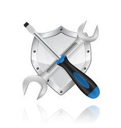 Wrench screwdriver and shield vector