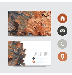 Oil painted business card vector