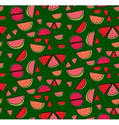 Seamless pattern of slices watermelon vector
