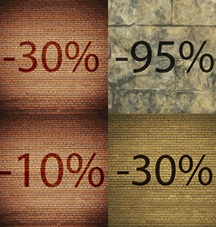95 10 30 icon set of percent discount on abstract vector