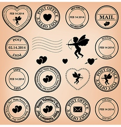 Romantic post stamps for valentine day vector