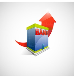 Bank and arrow icon vector