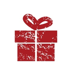 Red grunge gift logo vector