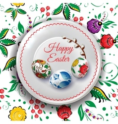 Easter plate with russian folk painting and vector