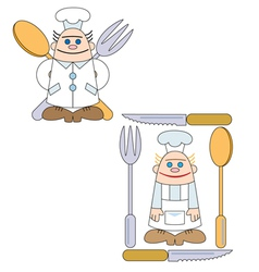 Two little cooks with spoon and fork vector
