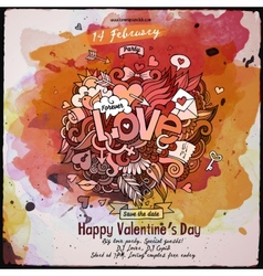 Love doodles watercolor poster design vector