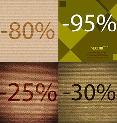95 25 30 icon set of percent discount on abstract vector