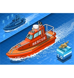 Isometric rescue boat in navigation vector