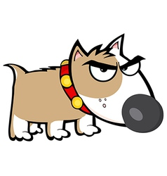 Angry brown dog bull terrier vector