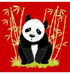 Big cartoon panda on red background with bamboo vector