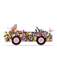 Convertible from flowers and butterfly vector