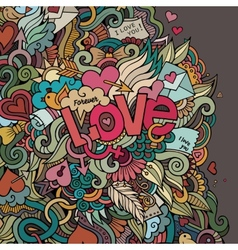 Love hand lettering and doodles elements vector