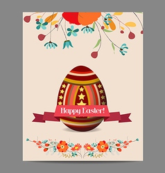 Easter egg invitation card with label and floral vector