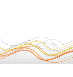 Orange lines in wave with halftone vector