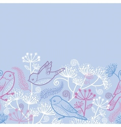 Pastel birds and flowers horizontal seamless vector