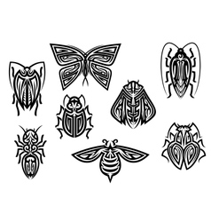 Insect tattoos in tribal style vector