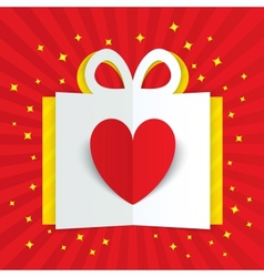 Paper heart in gift box with yellow flare stars vector