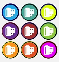 35 mm negative films icon sign nine multi-colored vector