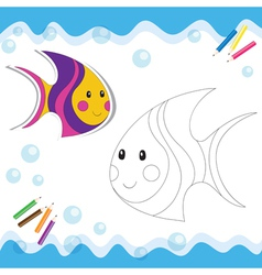 Coloring book fish vector