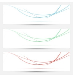 Bright web headers with smoke waves collection vector